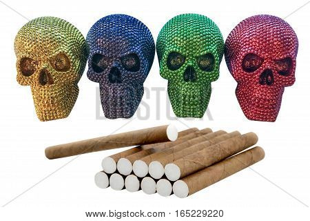 cigarillos with skull isolated on white background