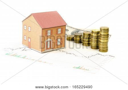 Property Thumbnail on the background of banknotes, coins and business graph