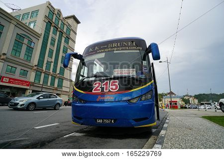 Muara,Brunei-Nov 11,2016:Express bus offers direct bus from Brunei Darussalam to Kota Kinabalu,Sabah,Borneo at B$ 45.Many tourists prefer bus ride to see more of the countryside.