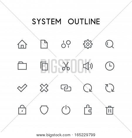 System outline icon set - home, file, settings, gear, search, folder, copy, scissors, sound, clock, check mark, delete, link, refresh, lock, shield and others simple vector symbols. Computer signs.