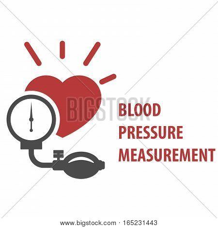 Blood pressure measurement icon - sphygmomanometer and heart