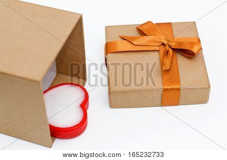 heart lying in the gift box on white background. festive concept for Valentine's day birthday wedding party holiday