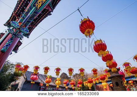 Red chinese paper lanterns in temples outdoors