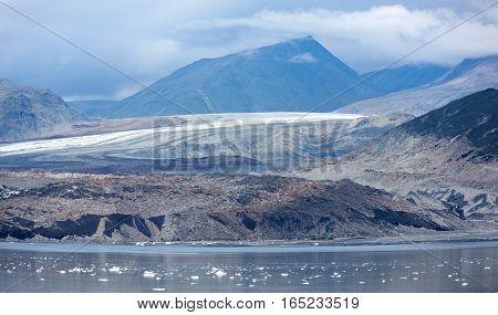 The panoramic view of an old glacier in Glacier Bay national park (Alaska).