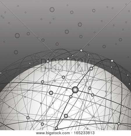 Vector illustration on the theme of physics; atomic nucleus; energy; data transmission; flight path; orbit; cosmos. White ball inside the structure of curve intersecting lines on a dark background.