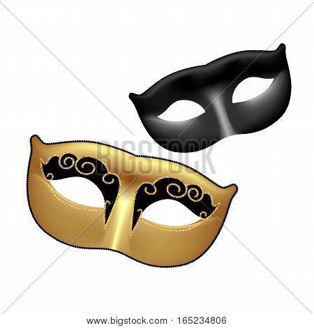 Golden and black masks isolated on white background. Template for Mardi Gras or Venetian masquerade festival. Vector Illustration.