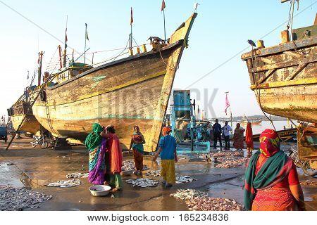 DIU, INDIA - JANUARY 8, 2014: Vanakbara Fishing port in Diu Island