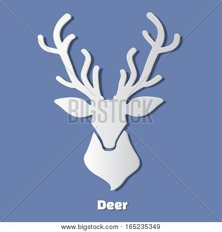 Paper deer head icon with shadow. Paper art