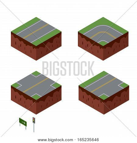 City elements. Road with sign. Isometric perspective vector illustration