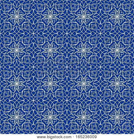 High contrasting seamless background tile with filigree white ornament on blue canvas. Vintage fabric style in damask design. Vector eps10