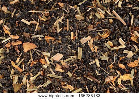 closeup of organic herbal lemon grass flowers tea background