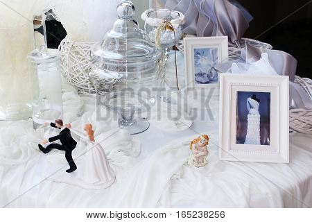 Wedding still life in white and black colors