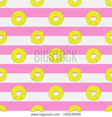 seamless pattern with hand drawn pineapple . Striped background with white and pink stripes