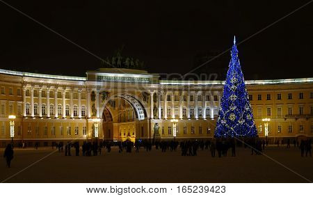 Evening Saint-Petersburg in New year's eve Palace square and the Arch of the General staff