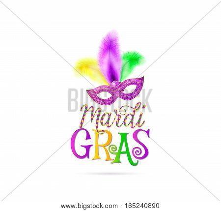 Vector illustration of Mardi Gras holiday text sign with venetian masquerade mask with purple yellow green feather isolated on white background