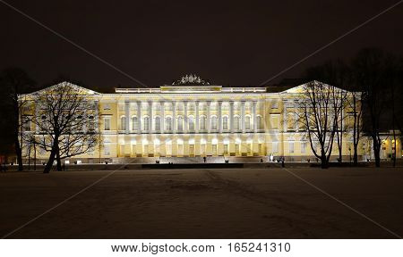 Evening Saint-Petersburg on the eve of the New year the Mikhailovsky Palace