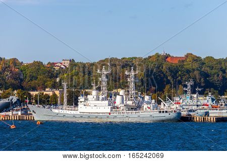 Polish warships in the port of Gdynia Poland.