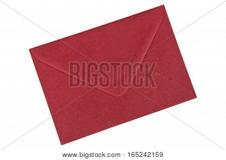 Dark red envelope isolated on a white background