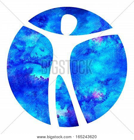 Watercolor Logo Modern man Sign of Psychology. Human in a circle. Creative style. Icon in . Design concept. Brand company. Blue color isolated on white background. Symbol for web, logotype