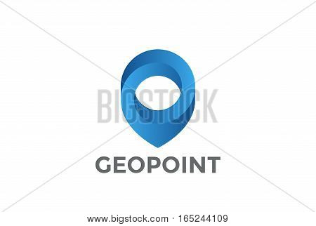 Geo Map Point Location Logo design vector. Pin symbol City locator template. Gps infinite navigation logotype icon.