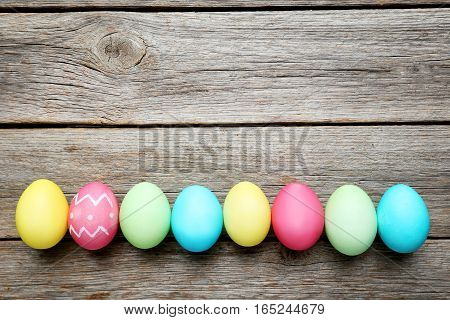 Easter Eggs On A Grey Wooden Table