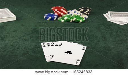 On the green baize lie flush and poker pot