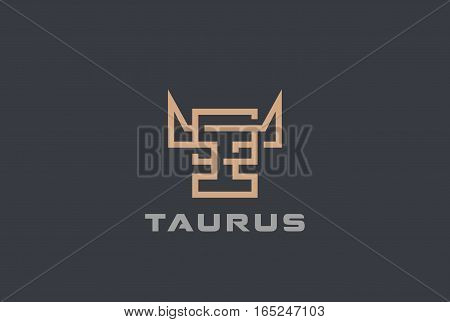 Bull Cow head Logo design vector template. Letter T logotype. Grill restaurant Butcher shop luxury logo.