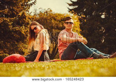 Love romance heartbreak concept. Moody girl with boyfriend in park. Lady upset on her man.