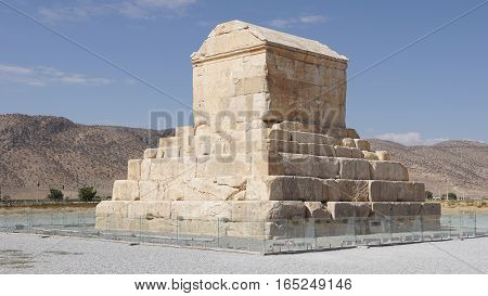 PASARGADAE, IRAN - OCTOBER 8, 2016: Tomb of achaemenid king Kyrus II. in Pasargadae on October 8, 2016 in Iran, Asia