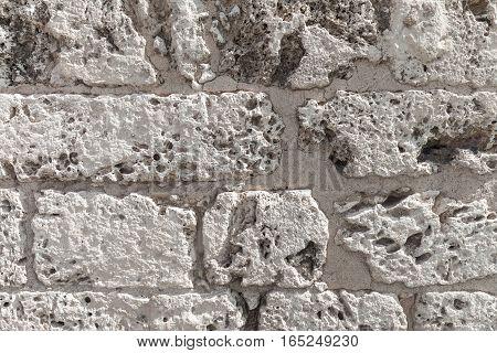 Old Wall Made Of Coquina Stone