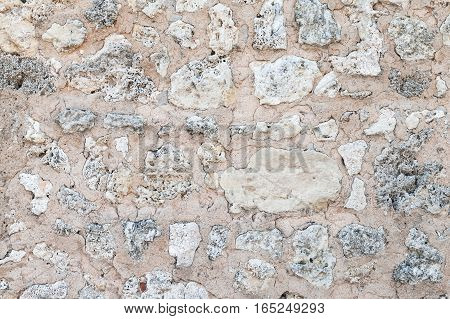 Old Stone Wall Made Of Coquina, Texture