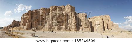 NAQSH-E ROSTAM, IRAN - OCTOBER 6, 2016: Necropolis of the Achaemenid kings in Naqsh-e Rostam on October 6, 2016 in Iran, Asia