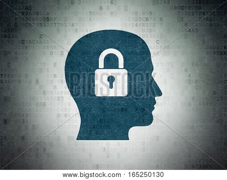 Data concept: Painted blue Head With Padlock icon on Digital Data Paper background