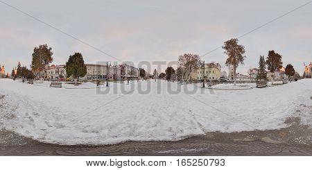 TÂRGU MUREȘ, ROMANIA - December 29, 2016: 360 panorama of a snow-covered Piața Trandafirilor (Roses' Square) in daytime, town centre of Târgu Mureș, Romania