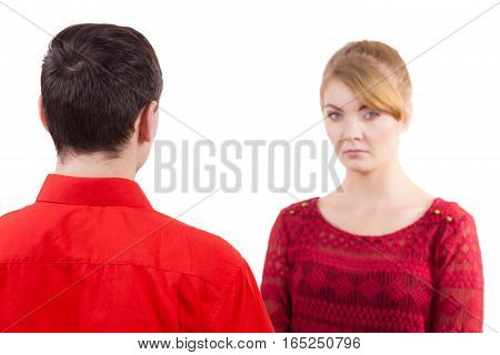 Couple after quarrel offended sad serious. Bad relationship concept. Man and woman in disagreement.