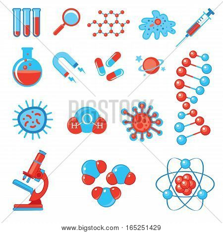 Trendy science icons. Physics Chemistry Biology and Medicine. Vector illustration. Isolated on white background. Set