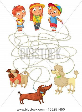 Funny maze game: help owners find their pets. Illustration with tangled lines. Funny cartoon character. Vector illustration. Isolated on white background