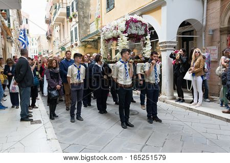 CORFU GREECE - APRIL 29 2016: The epitaph processions of Good Friday in Corfu. In Corfu every church is organizing a litany carrying its