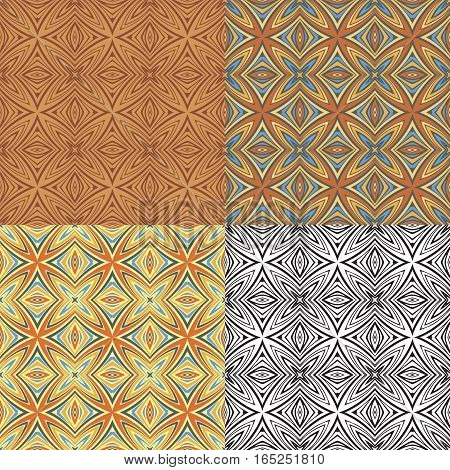 Vintage set elements for seamless vector patterns. Floral geometric ornament. Endless texture for wallpaper, surface textures, pattern fills, web page background