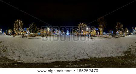 TÂRGU MUREȘ, ROMANIA - December 29, 2016: 360 panorama of a snow-covered Piața Trandafirilor (Roses' Square) in winter nighttime, town centre of Târgu Mureș, Romania