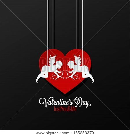 Valentines Day Couple On Heart Background 10 eps