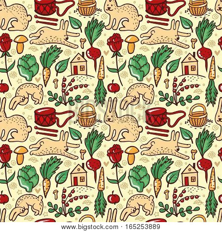 Lovely seamless pattern with rabbit`s favourite things. Summer motif with rabbits, vegetables, berries, mushrooms. Vector illustration for corporate identity of grocery shop or vegetarian cafe