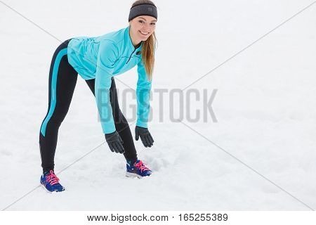 Young Lady Doing Exercise Outside.
