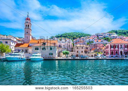 Scenic view at mediterranean town on Island Brac, popular travel destination in Croatia, european summer resort.