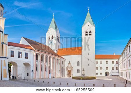 Towers of Freising Cathedral in Freising Bavaria Germany