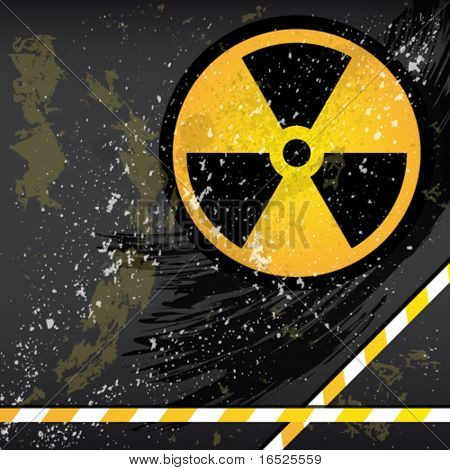 Eps10 Abstract grunge background with the emblem of radiation.