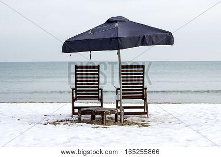 Empty beach Winter Beach Black Sea Varna Bulgaria