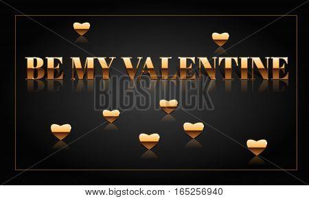 Be my Valentine golden vector drawn card.
