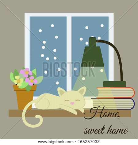 Home, Sweet Home Vector Drawn Card. Funny Illustration.
