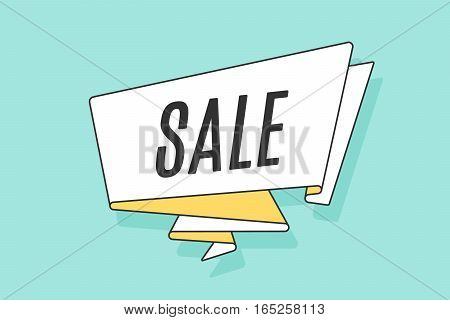 Ribbon banner with text Sale for discount in stores, shopping malls, shops and markets. Hand drawn design element. Vector Illustration